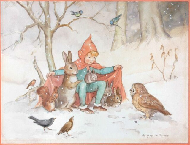 Postcard: Vintage print repro - Child Keeps Bunnies, Squirrel, Owl Warm in Snow