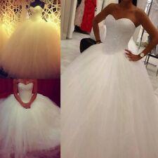 2017 Ball Gown Wedding Dresses Formal White Tulle Beading Bridal Gowns Custom
