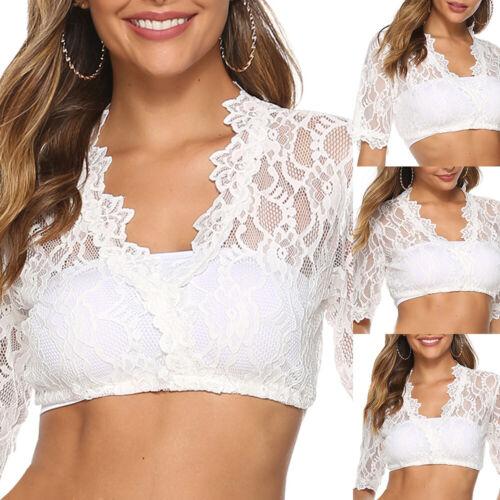 Ladies White Lace Dirndl Blouse 3//4 Sleeves Dress Blouse Oktoberfest Wrap Crop Top