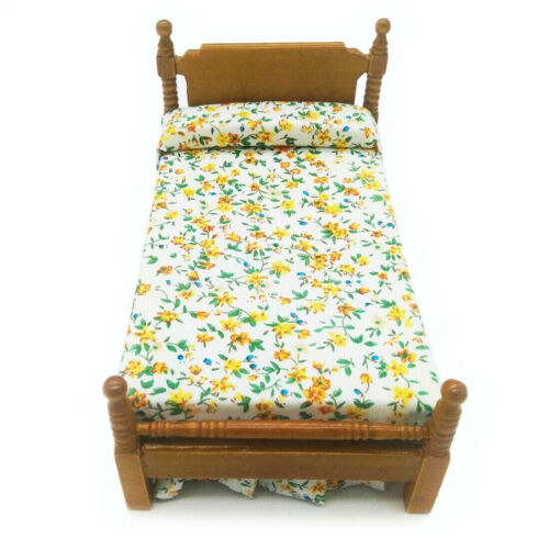 Dollhouse Bedroom Wooden Floral Single Bed 1:12 Miniature Furniture Decor