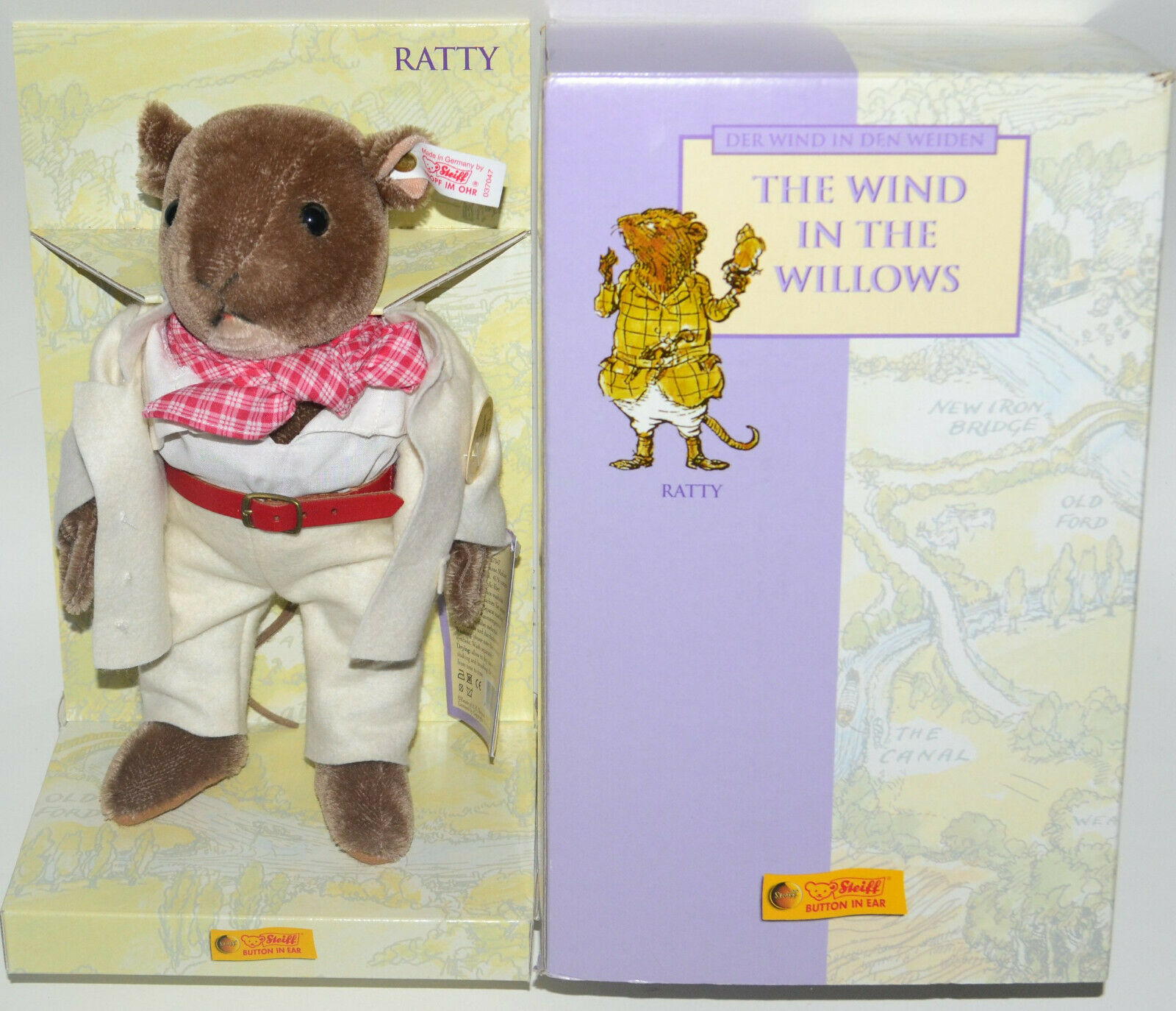 1999 Steiff The Wind in the Willows  Ratty  Mohair Doll NRFB IM OHR 037047