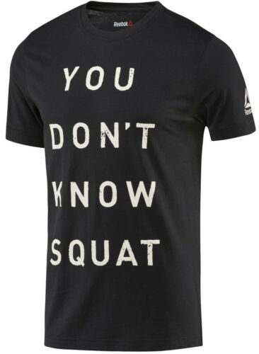 Reebok BQ82 Mens Training /'You Don/'t Know Squat/' Graphic Tee Athletic Fitness