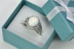 Opal-10X12mm-Oval-Clear-Topaz-Accent-Combination-925-Sterling-Silver-Ring-Size-8