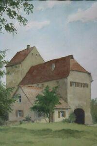 Gustav-Mueller-Aquarell-Torhaus-und-Torturm-in-Berching-Februar-1975