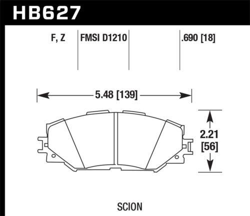 Disc Brake Pad Set-HPS Disc Brake Pad Front Hawk Perf HB627F.690