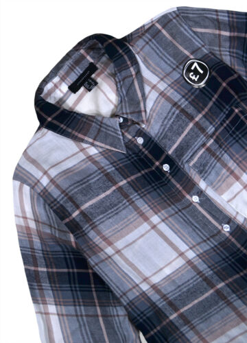 Ladies Shirt New Womens Navy Check Blouse Top Plus Size UK 6 8 10 12 14 16 18 20