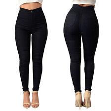 Damen High Waist Jeans Hose Jeanshose Skinny Röhrenjeans Röhre Hochbund Denim