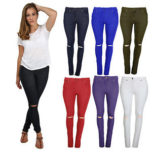 NEW-LADIES-RIPPED-SKINNY-FIT-COLOURED-STRETCHY-JEANS-WOMENS-JEGGINGS-SIZE-8-16