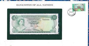 *Banknotes of All Nations Bahamas 1 dollar 1974 UNC P-35b Prefix P/1 Allen