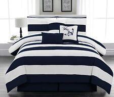 nautical comforter sets king 7pc. Microfiber Nautical Comforter Set Navy Blue Striped  nautical comforter sets king