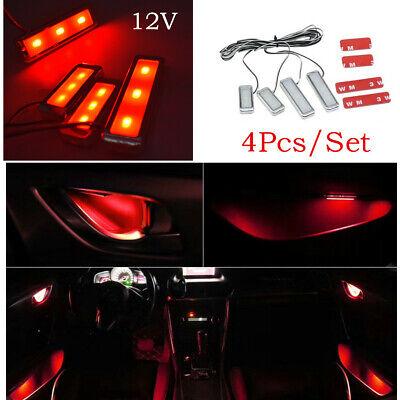 4X LED Interior Inner Door Handle Armrest Decor Atmosphere Light Lamp Bulb Amber