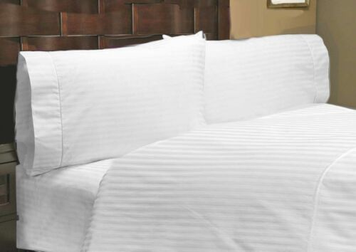 Bedding Items Collection 1000TC 100/%Egyptian Cotton White Striped All US-Sizes;