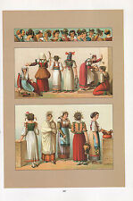 VINTAGE FASHION COSTUME PRINT ~ ITALY 1880s HEADDRESSES BRIDES WORKING WOMAN