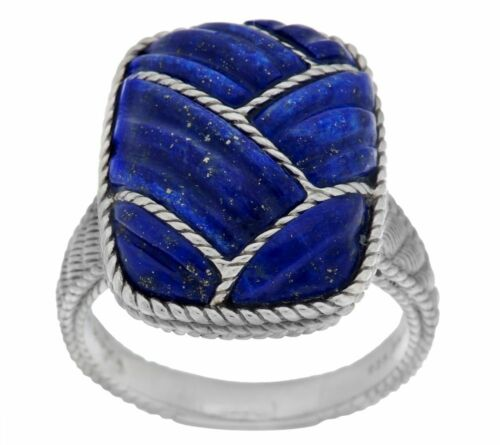 JUDITH RIPKA STERLING SILVER CARVED LAPIS /& ROPE DETAIL RING SIZE 5 QVC $287.00