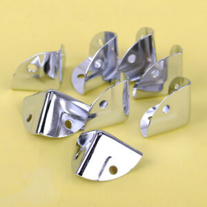 8X-Chrom-Metall-Kofferecken-Flache-Boxenecken-Eckwinkel-Kantenschutz-Caseecken