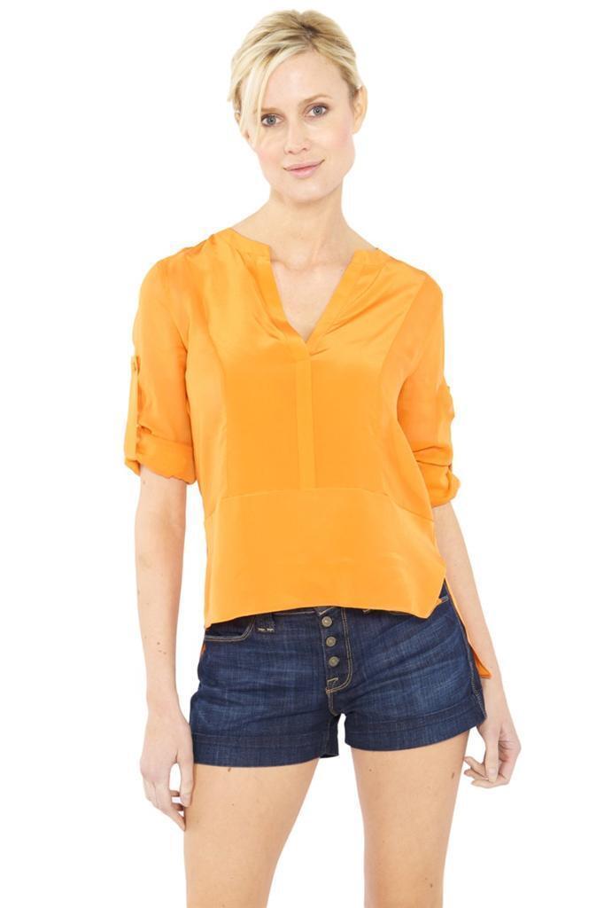 BCBG Max Azria Liberty Blouse Dark Persimmon V-Neck Asymmetrical Silk Orange NEW