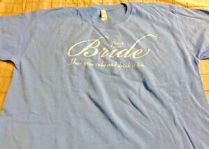 Pearl Wedding Cake Vodka Bride Ladies Shirt Medium Light Blue