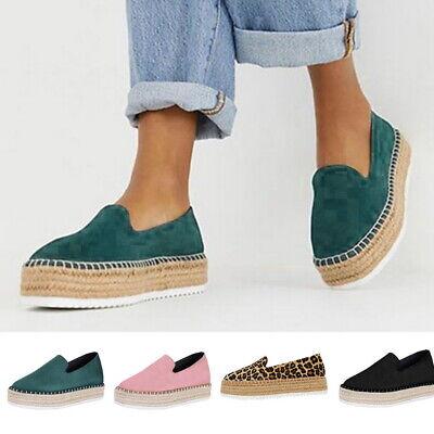 Women Platform Shoes Bowkont Espadrilles Casual Faux Leather Slip on Loafers UK