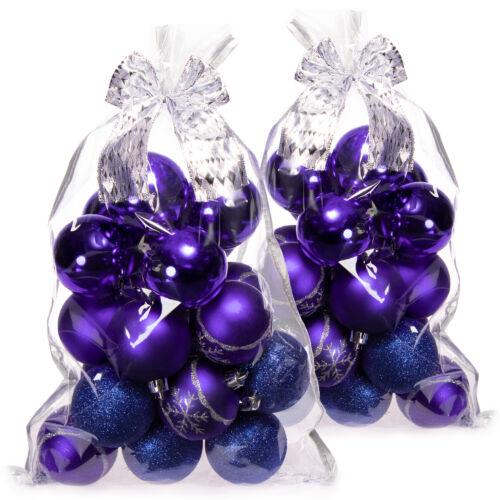 blau bruchsichere Christbaumkugeln aus Kunststoff 40x Weihnachtskugeln
