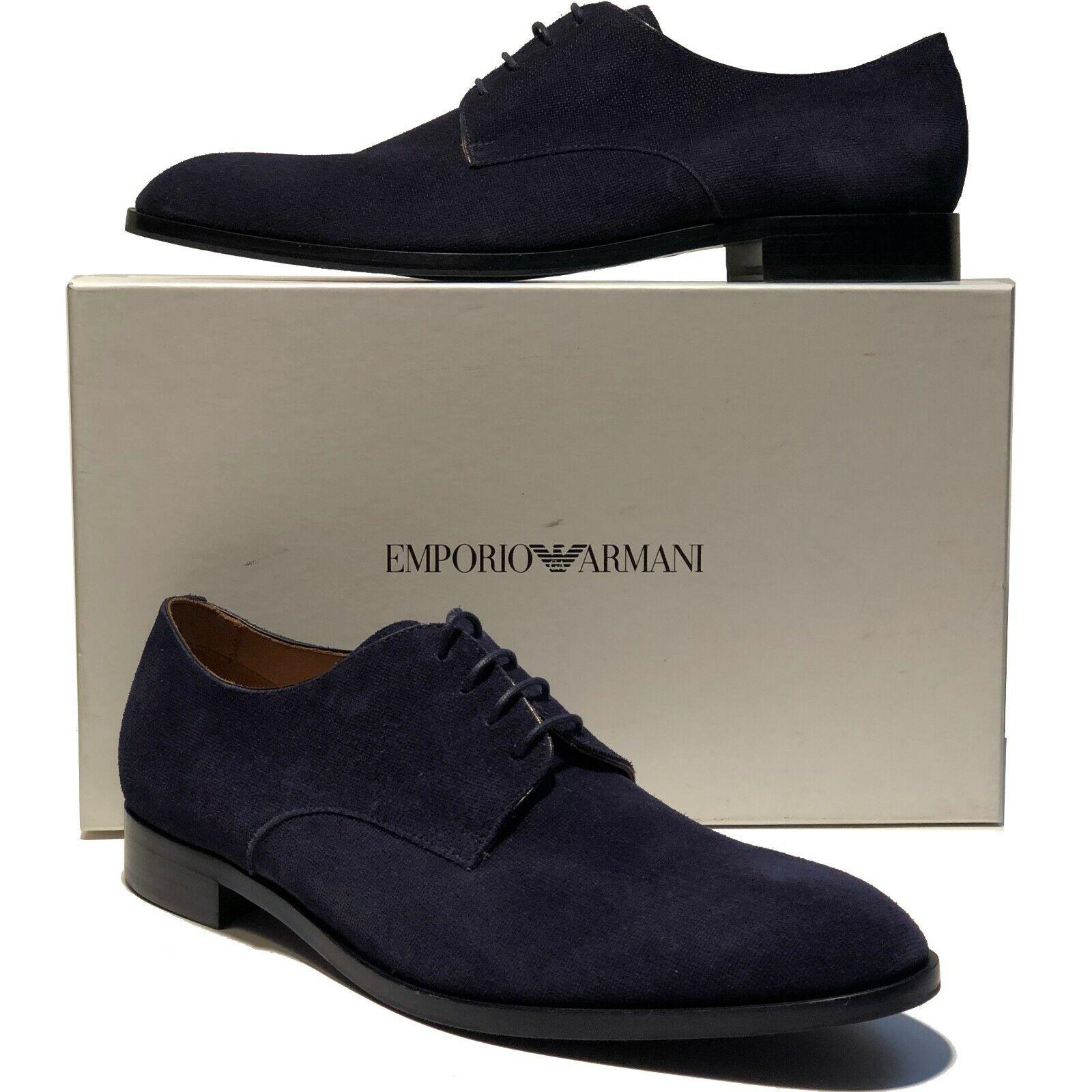Emporio ARMANI Navy blu Suede Leather Dress Men's Fashion Oxford 12 45 Casual