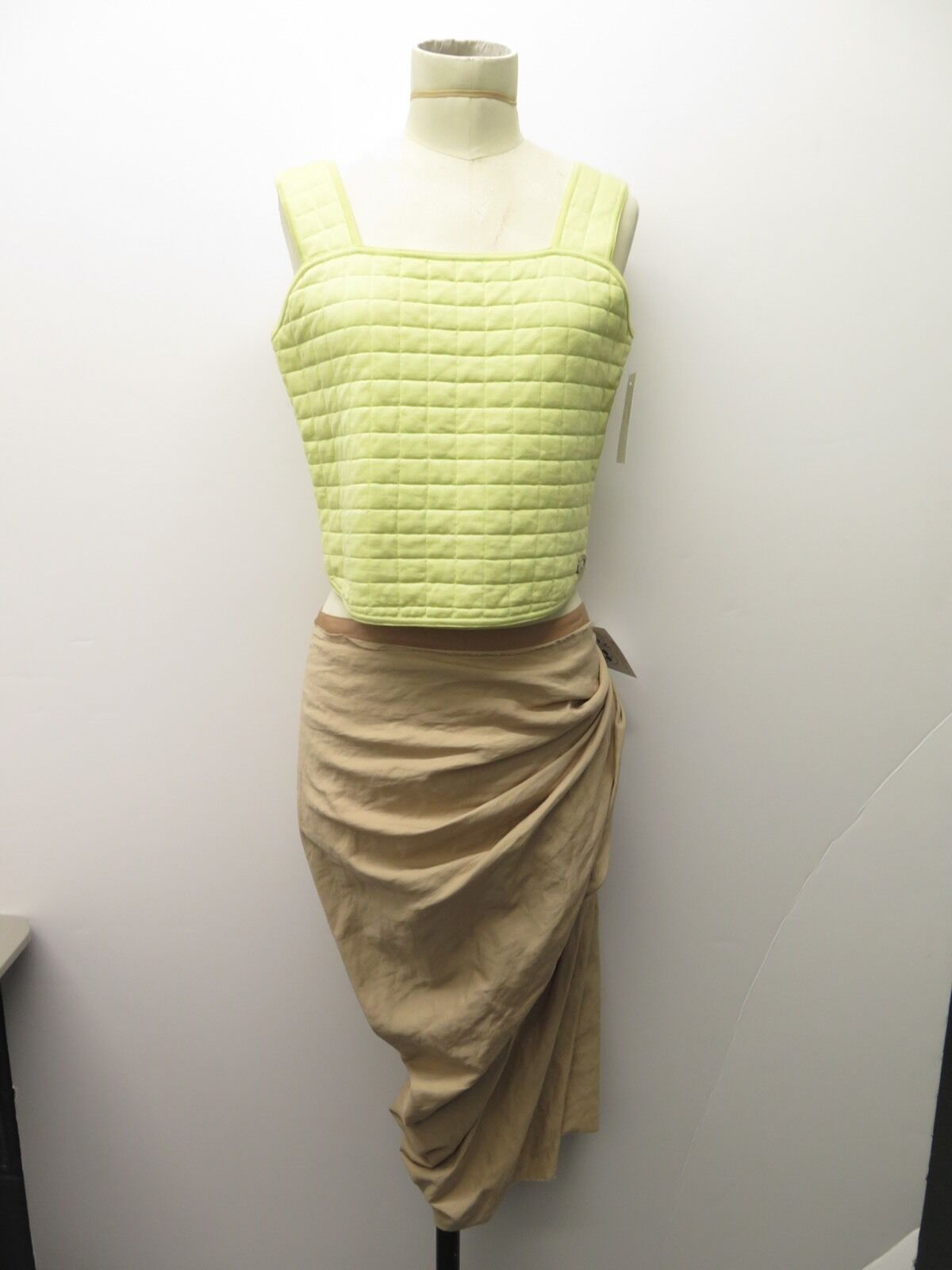 561716637 Lanvin 2009 Beige Cotton Blend Drape Sz 42 Skirt Spring nfstnd10906 ...