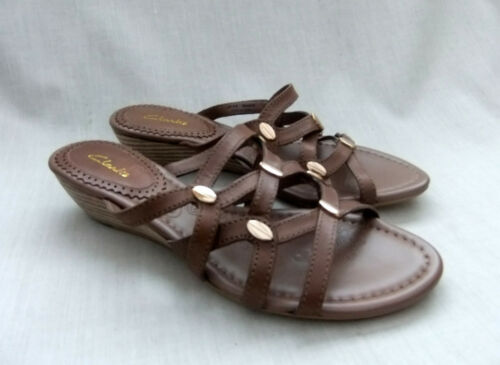 NEW CLARKS SHAVI TIE WOMENS MINK LEATHER WEDGE MULES SANDALS
