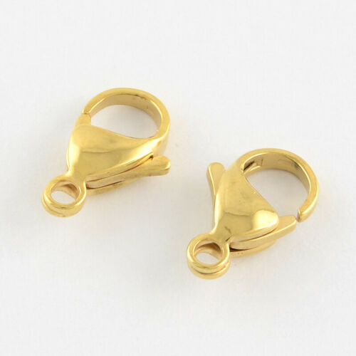 100 pcs Real 18K Gold Plated 304 Stainless Steel Lobster Claw Clasps 10x6x3mm