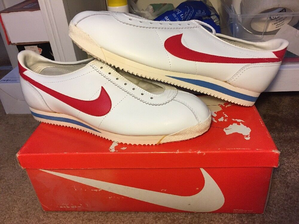 New Original Nike Cortez Leather Size 15 Forrest Gump White Red Blue 2184 OG