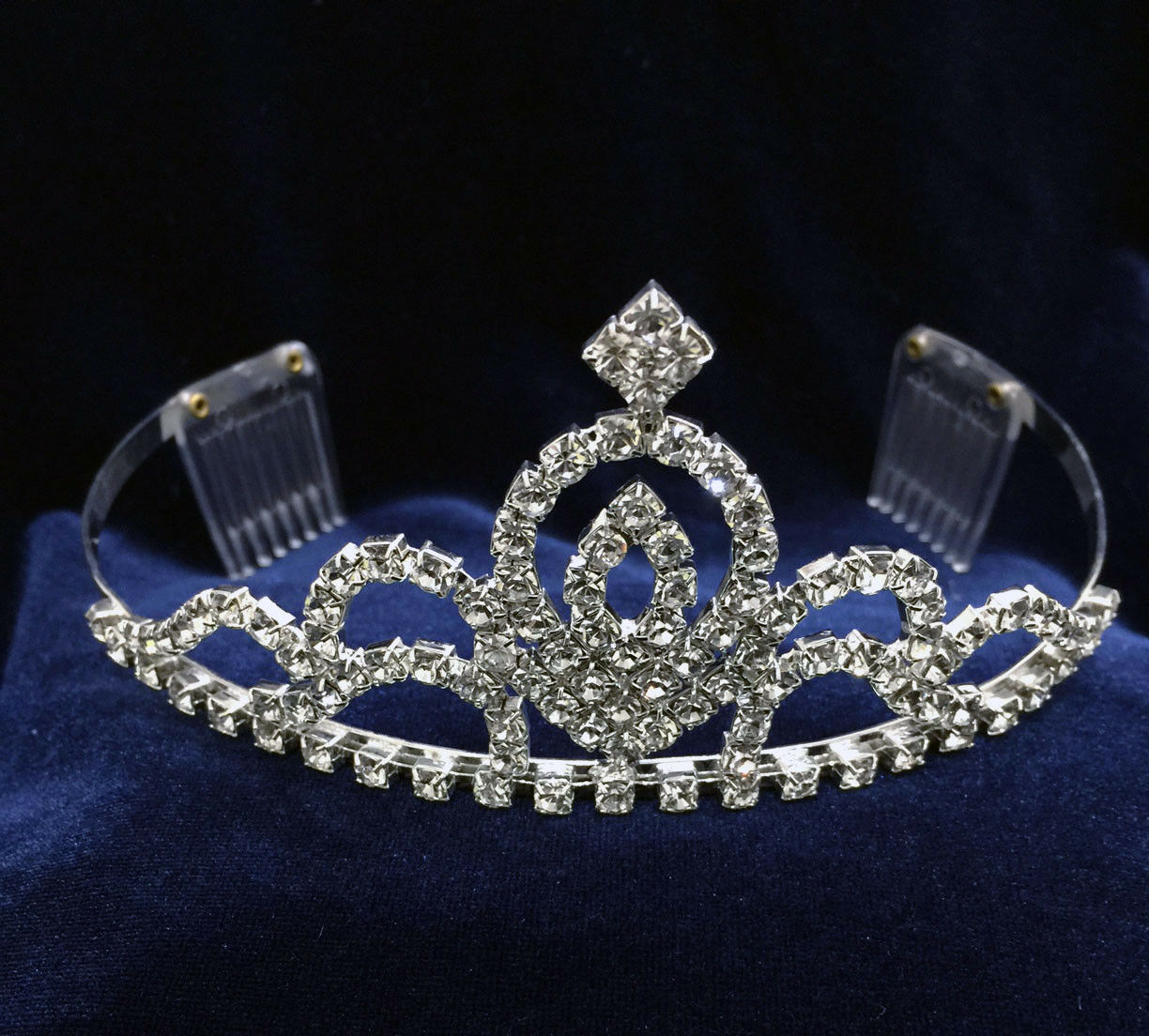 Crystal Rhinestones Silver Plated With Combs.Silver Tiara.2 .25 Inches Tall