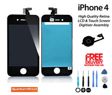 BLACK LCD & Digitiser Assembly Replacement Repair + Free Tools FOR iPhone 4 4G
