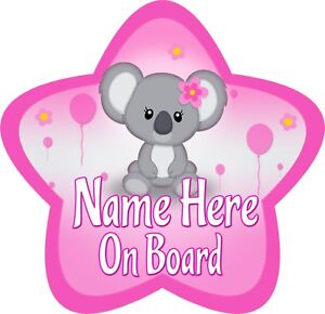 Personalised New Baby Girl Star Shaped Baby On Board Car Sign ~ New!