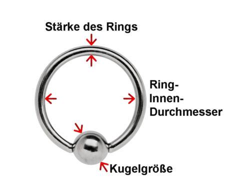 Piercing Schmuck Titan BCR Intim Ring 6,0mm Stärke Größe 13-22mm Klemmkugel