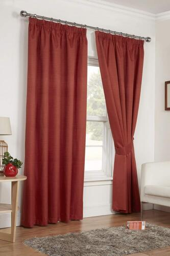 BRICK TERRACOTTA 66 x 90 READY MADE PENCIL PLEAT LIGHT REDUCING CURTAINS THERMAL