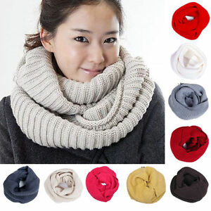 Women-Men-Winter-Warm-Infinity-1-Circle-Cable-Knit-Cowl-Xmas-Neck-Scarf-Shawl-JP