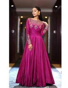 Party Wear  Indian Designer Ethnic  Georgette Embroidery Work Pink Long Gown