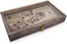 Mooca Wood Glass Top Jewelry Display Case Accessories Storage Wooden Jewelry