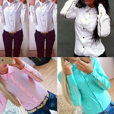Women Fashion T Shirt Long Sleeve Lapel Collar Button Blouse Zipper Tops