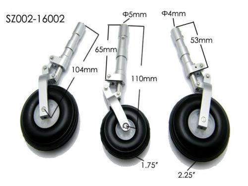 Alloy Undercarriage Anti-vibration Landing Gear w// PU Plastic wheel for RC plane