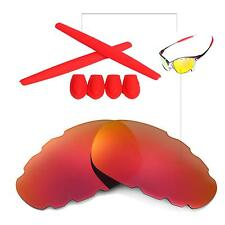 Walleva Fire Red Vented Polarized lenses + Ear socks T-shocks for Oakley Juliet