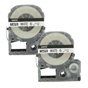 2x Schriftband für Epson SS6KW LC-2WBN 6mm Schwarz Weiß LW-500 LW-700 LW-300