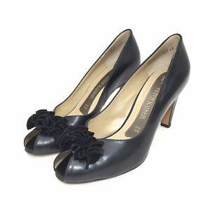 separation shoes d3d40 6913f Details about Women's Peter Kaiser Black Leather Peep Toe Pumps w/ Suede  Ruffle Size 5.5