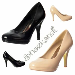 Womens Low Heel Stiletto Court Work Party Shoe Nude Patent Black Patent Size 3-8