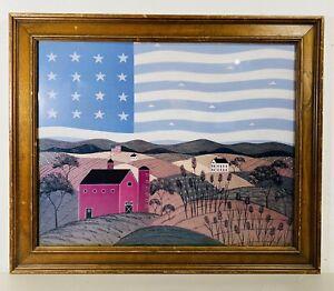 Vtg Warren Kimble American Folk Art Flag Farm Amber Waves Of Grain Print Framed