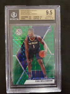 2019-20-Panini-Green-Mosaic-209-Zion-Williamson-Pelicans-RC-Rookie-BGS-9-5-GEM