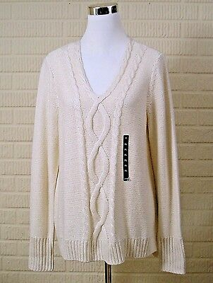 Womens Chaps Creme Sweater Sz XL Gold Metallic Accent Cable Knit V Neck NWT