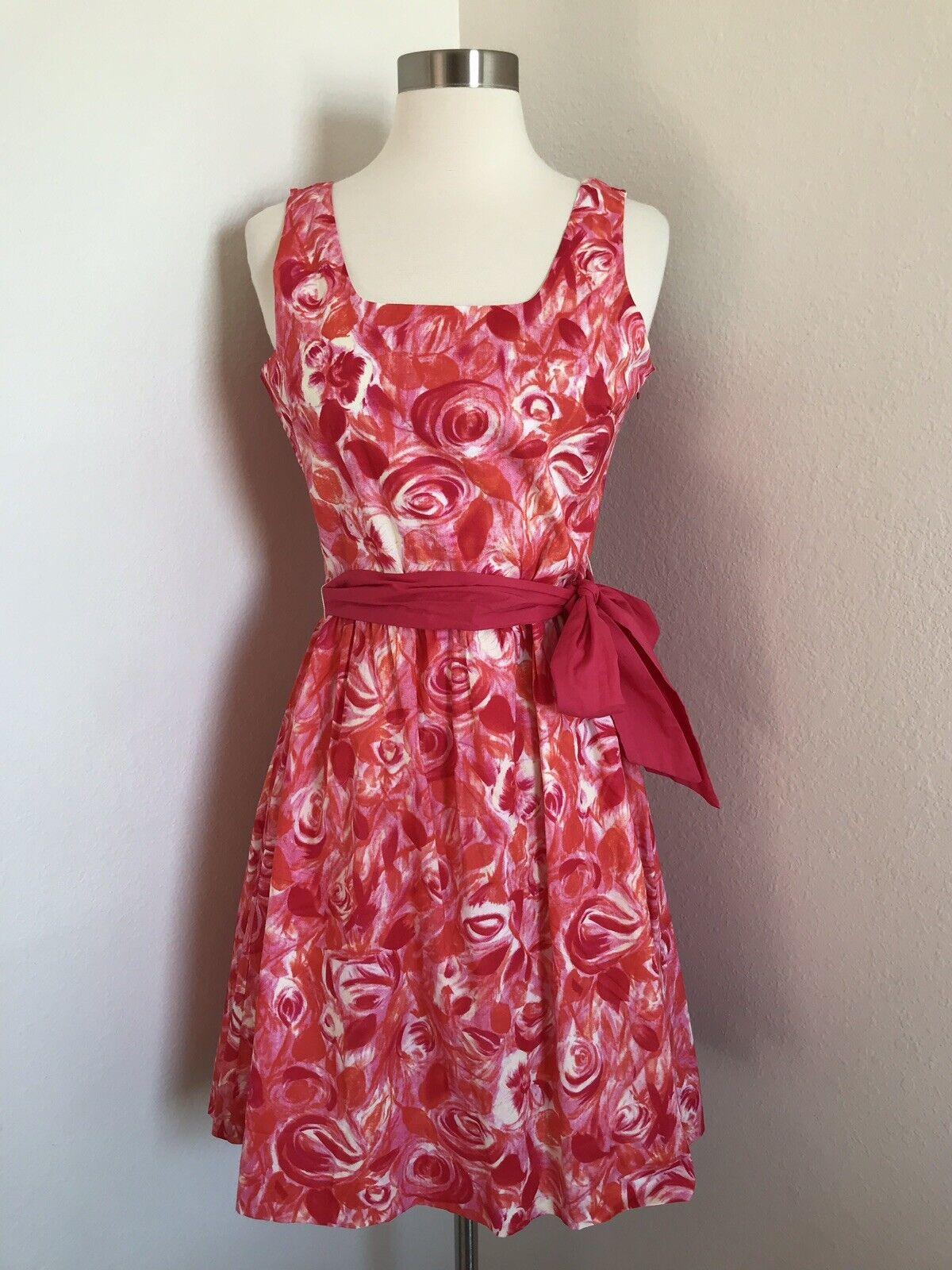 Garnet Hill Floral Rosa Fit & Flare Summer Sun Dress Cute Rosa rot damen Größe 4
