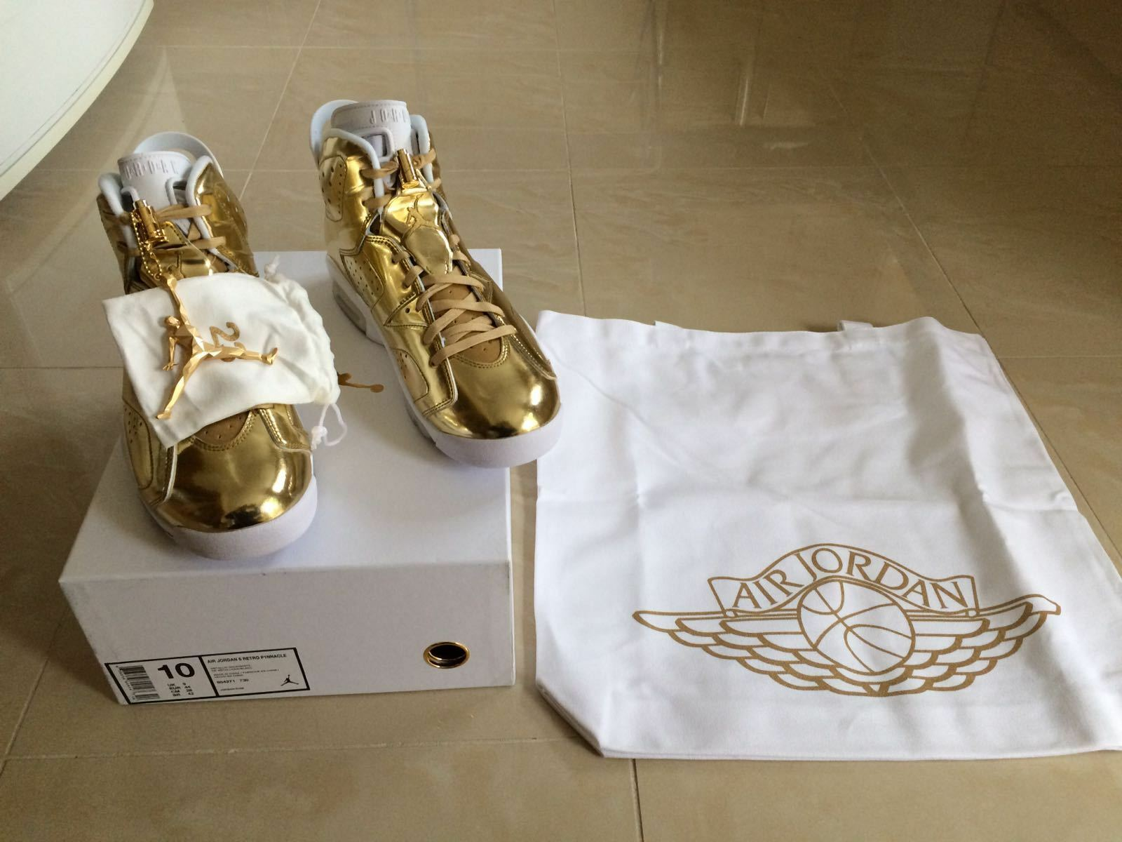 NIKE AIR JORDAN 6 pinnacle doré métallisé édition limitée taille uk 9.5 new