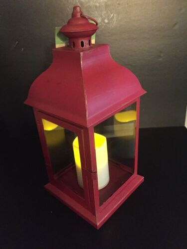 "Smart Living San Nicola 15/"" Metal Lantern with LED Candle w Daily Timer"