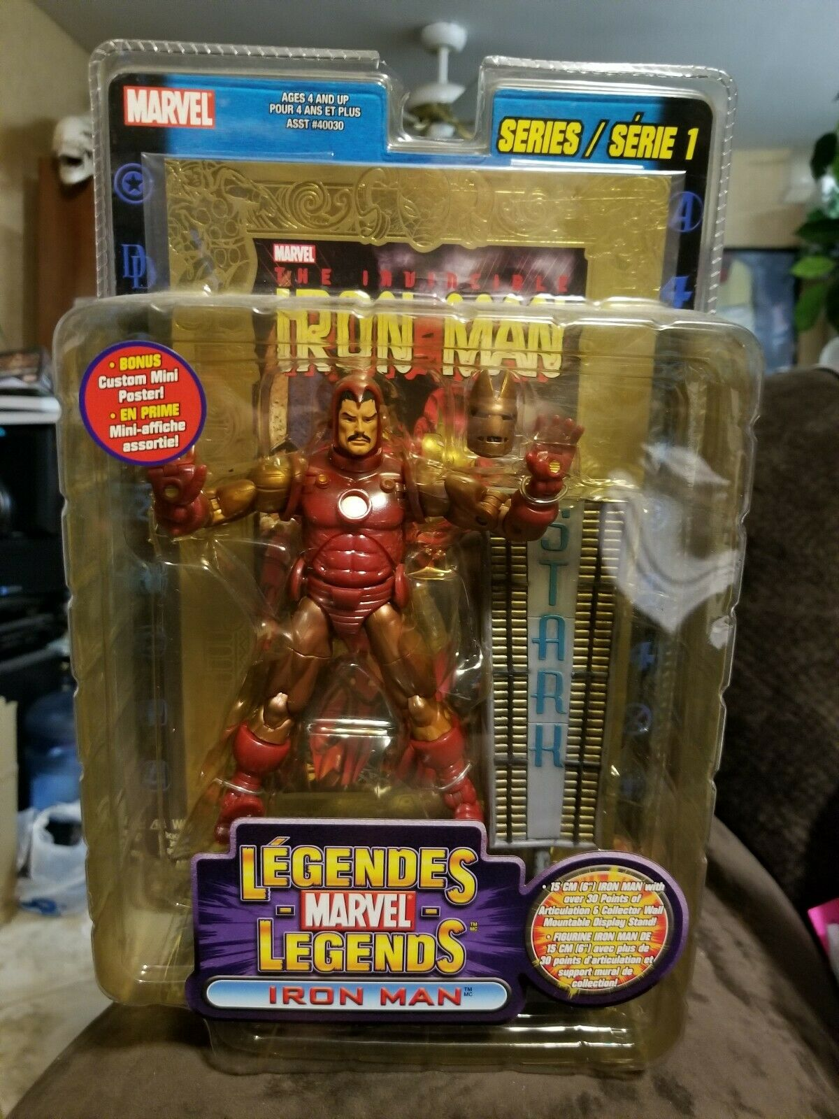 Marvel Legends Series 1 gold Foil Iron Man  (RARE FRENCH VERSION) Figure..