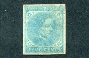 1862 U.S. Scott #7 Five Cent Confederate States Stamp Mint Hinged